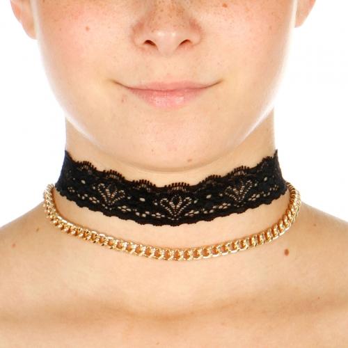 Wholesale N42D Chain Lace Choker Necklace GOLD/BLACK