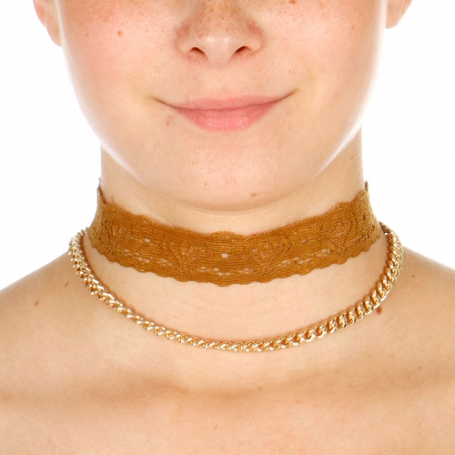 Wholesale N42D Chain Lace Choker Necklace GOLD/BROWN