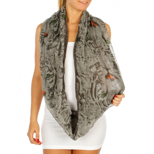 Wholesale S73 Two layer Tiger Infinity Scarf Grey