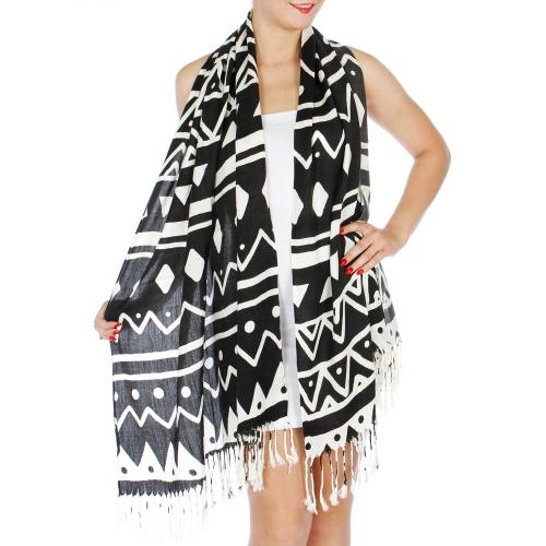 Wholesale P01B Tribal Fringe Scarf BK/WH