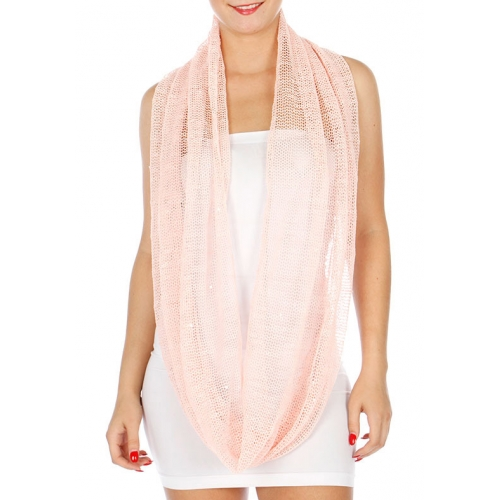 Wholesale J17B Solid Mesh Infinity Scarf Peach