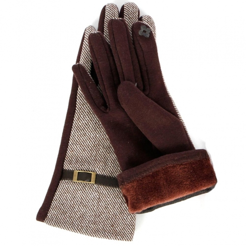 Wholesale T18A Womens Hound Tooth Touch Screen Gloves BK