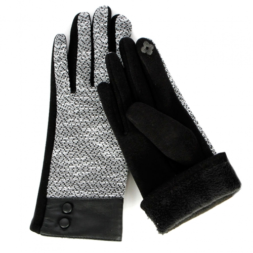 Wholesale T18C Faux Leather Wrist Touch Screen Gloves BK