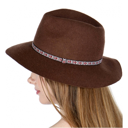 Wholesale V51D Wool Panama Hat w/ Diamond Tribal Band L.Brown