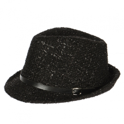 Wholesale V66C Fancy tweed fedora w/belt BK