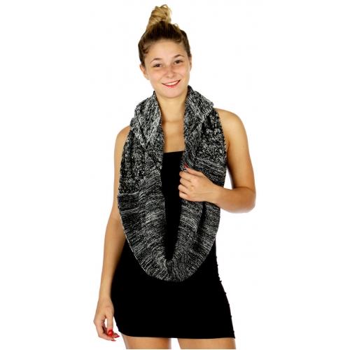 Wholesale P27B Knit Hood Infinity Scarf BK