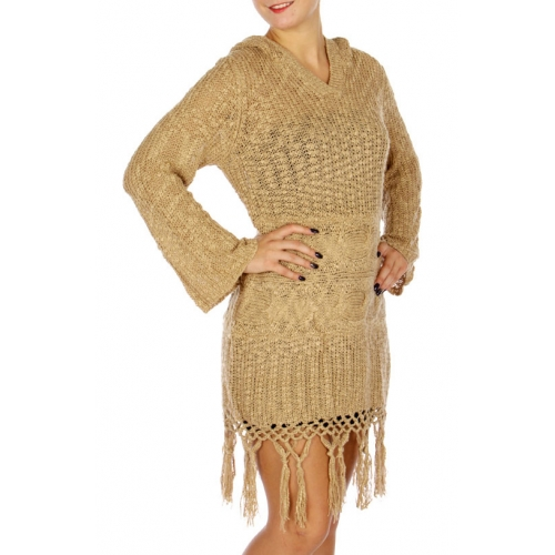 Wholesale N16E Round Neck Knit Sweater BEIGE