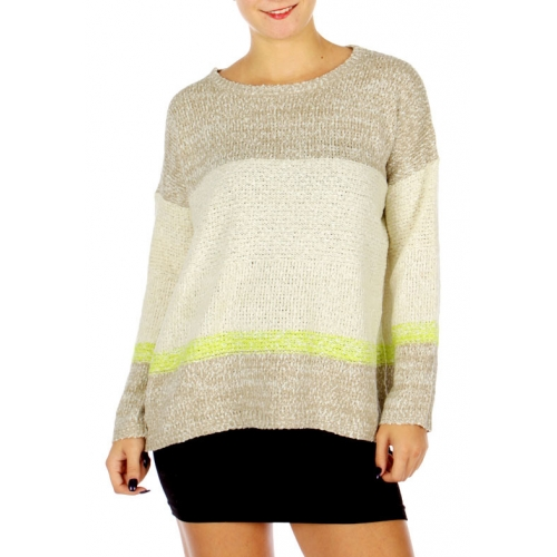 Wholesale P21C Neon Point Stripe Pullover Sweater Natural