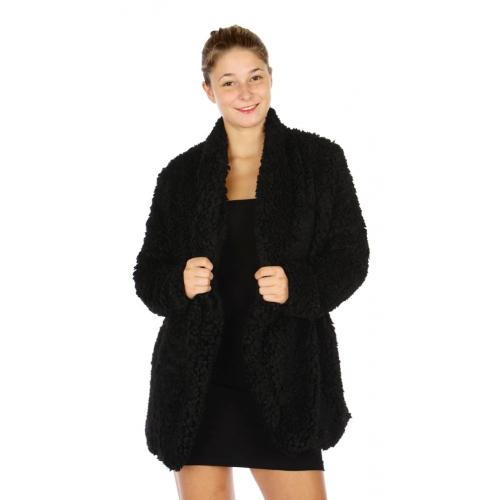 Wholesale N16 Shaggy Faux Fur Jacket BLACK