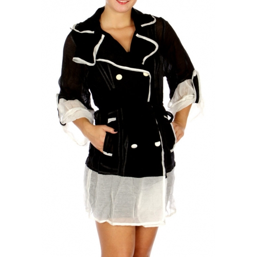 Wholesale N14B Unique Color Contrast Chiffon Outer Jacket BLACK