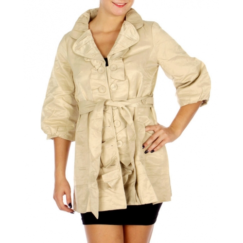 Wholesale N16E Pin Tuck Collar Shirring Jacket BEIGE