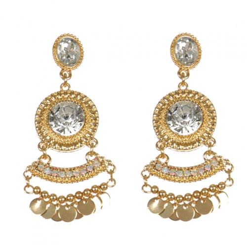 Wholesale L01A Beautiful Faux Stone Drop Earrings GOLD/CLEAR