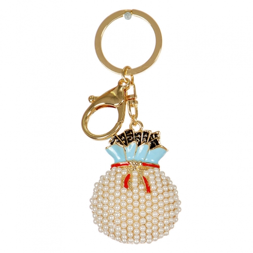 Wholesale M02E Pearled Money Bag Keychain GD