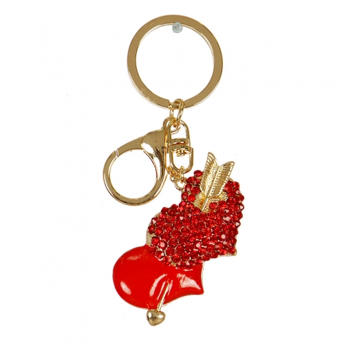 Wholesale M02E Double Heart Keychain GD