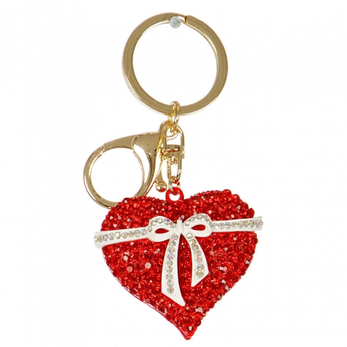 Wholesale M13D Ribbon Wrapped Heart Rhinestone Keychain GD