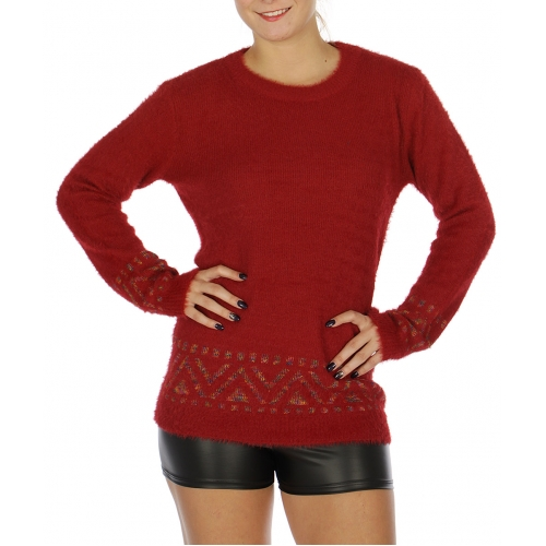 Wholesale O32E Eyelash Pullover Knit Sweater Red