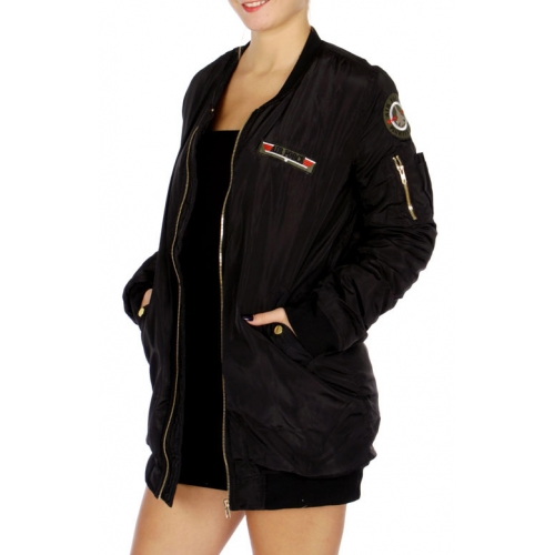 Wholesale N13C Long Length Air Force Bomber Jacket Black