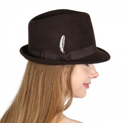 Wholesale V26B Wool Feel Fedora w/ Gold Feather Pin BR