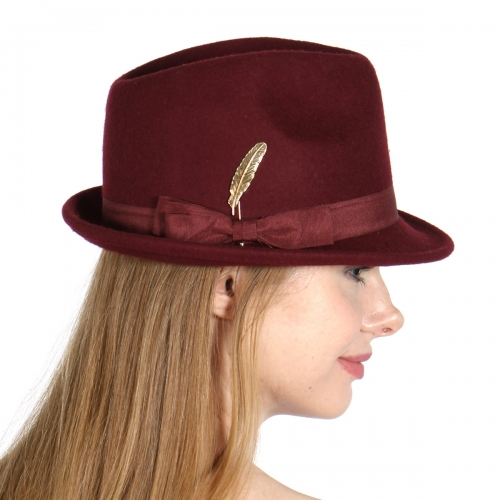 Wholesale V26B Wool Feel Fedora w/ Gold Feather Pin BY