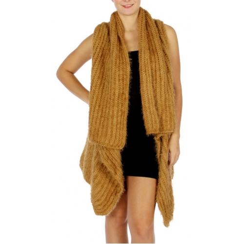 WholesaleS82C High Low Knit Vest BLACK