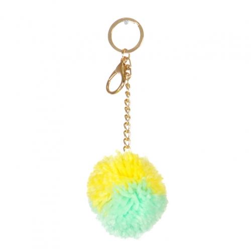 Wholesale I36A Fluff Ball Charm Keychain GEY