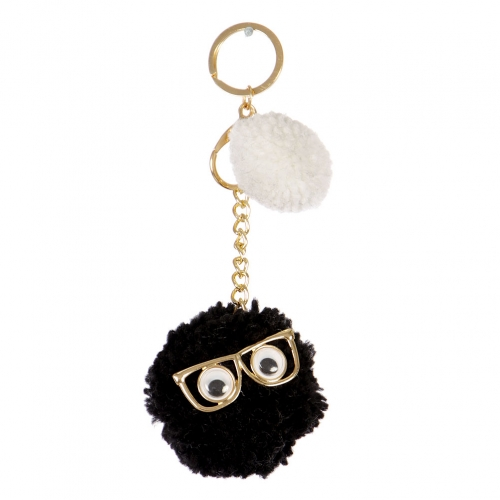 Wholesale I34A Mr. Fluff Ball w/ Eyes and Glasses Keychain GJW