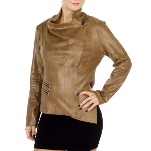 Wholesale N09C Chic Faux Leather Jacket Mushroom