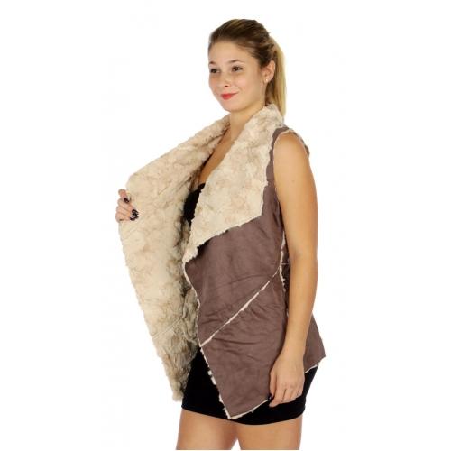 Wholesale N11D Faux Suede Super Soft Outer Vest Mushroom