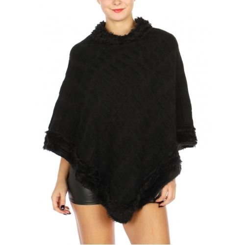 Wholesale N06B Fur Trim Winter Poncho Black