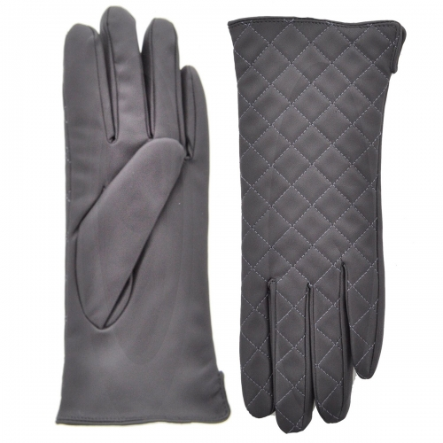 Wholesale T09E Faux Leather Quilted Gloves BK
