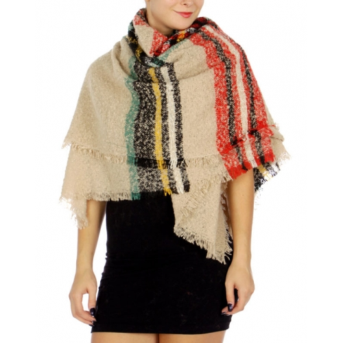 wholesale N03C Multi color plaid blanket shawl Navy/Red