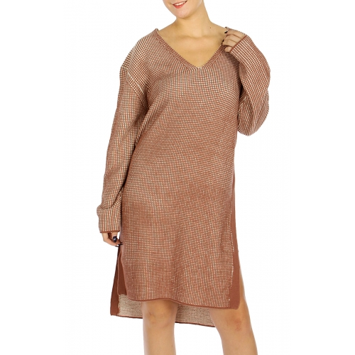 wholesale O69B Checked Side Slit Sweater Dress Black