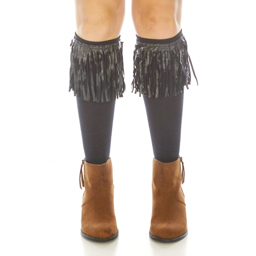 Wholesale R71A Fringed long leg warmers Black