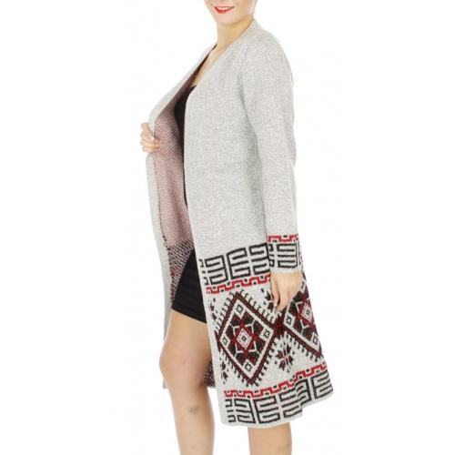 Wholesale N05C Knit long Mongolian pattern open front cardigan Grey