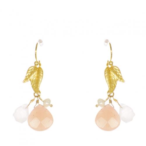 Wholesale WA00 Leaf and stone drop earrings GCO