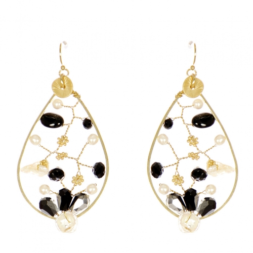 Wholesale WA00 Faux pearl and beads oversize earrings GBK
