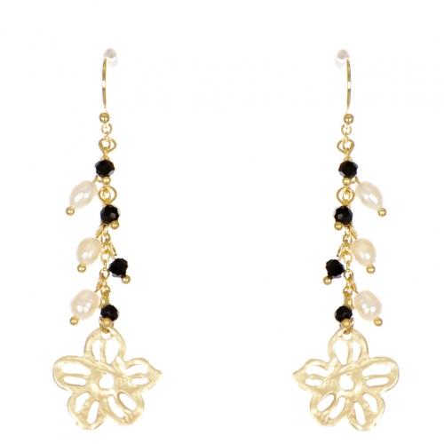 Wholesale WA00 Flower and beads drop earrings GBK