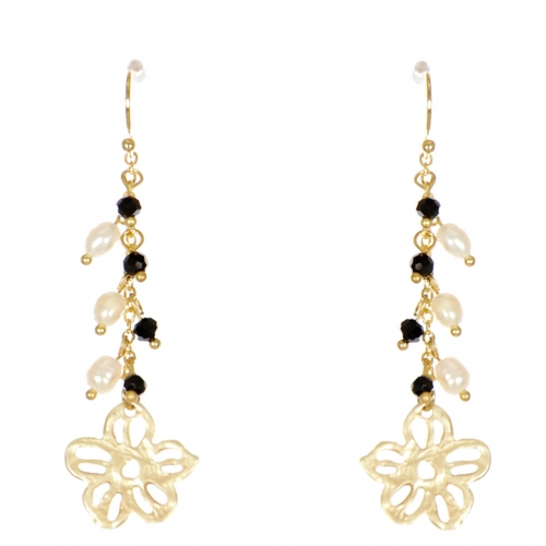 Wholesale WA00 Flower and beads drop earrings GBK