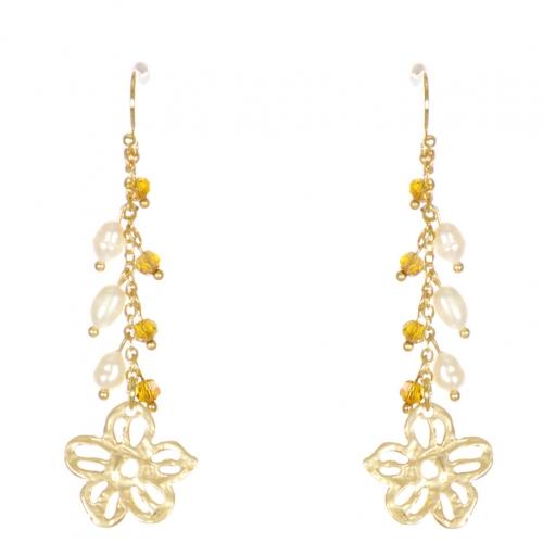 Wholesale WA00 Flower and beads drop earrings GBR