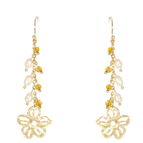 Wholesale WA00 Flower and beads drop earrings GBR