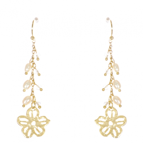 Wholesale WA00 Flower and beads drop earrings GCL
