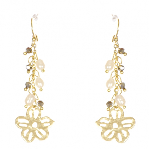Wholesale WA00 Flower and beads drop earrings GHE