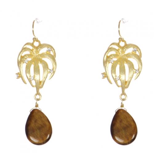 wholesale WA00 Rhinestone onyx pattern earrings GBR