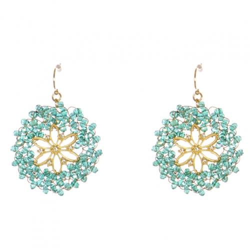 Wholesale WA00 Beads Wreath Earrings W/ Rhinestone Ggr