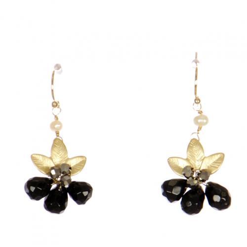 Wholesale WA00 Beads And Leaves Earrings Gbk