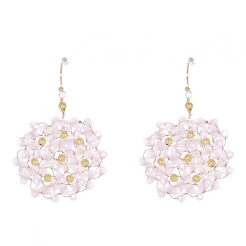 Wholesale WA00 Beads Wreath Earrings W/ Golden Balls Gpk
