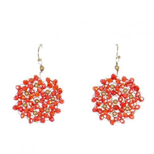 Wholesale WA00 Beads Wreath Earrings W/ Golden Balls Grd