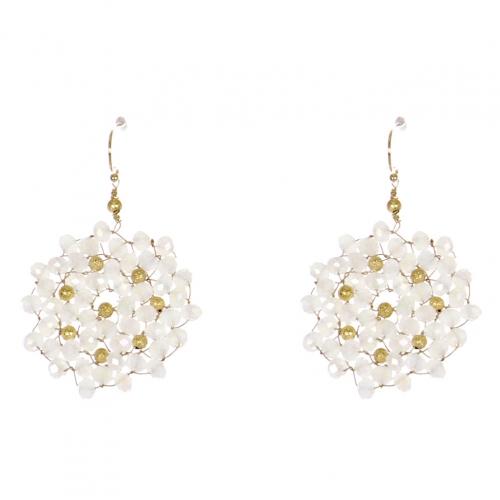 Wholesale WA00 Beads Wreath Earrings W/ Golden Balls Gwt