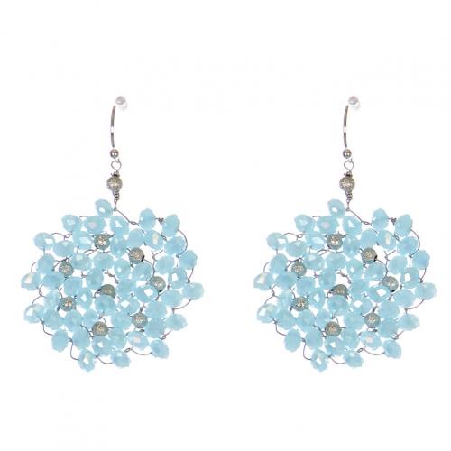 Wholesale WA00 Beads Wreath Earrings W/ Golden Balls Raq