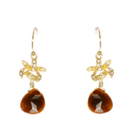 Wholesale WA00 Rhinestone and teardrop stone earrings GBR